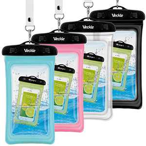 Waterproof Case, 4 Pack Veckle Floating Waterproof Phone Pouch Universal TPU Clear Phone Beach Bag Water Proof Dry Bag for iPhone X XR Xs Max 8 7 6 Plus, Samsung Galaxy, Black White Blue Pink