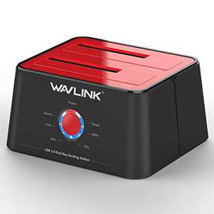 WAVLINK USB 3.0 to SATA Dual-Bay Hard Drive Docking Station for 2.5 inch/3.5 Inch HDD,SSD Support Offline Clone/Backup/UASP Functions [12TB×2 ]