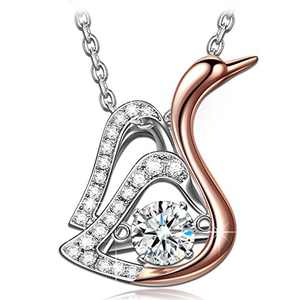 DANCING HEART Christmas Gifts for Women Swan Necklaces for Women Fine Jewelry Rose Gold Jewelry for Women Mom Wife Daughter Girlfriend