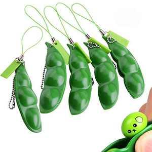 Anpole Fidget Bean Toy, Squeeze-a-Bean Edamame Keychain Keyring Extrusion Bean Pea Soybean Stress Relieving Chain Toys (5pcs)