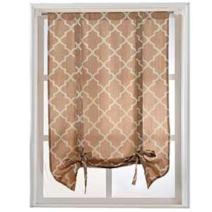 "NAPEARL Jacquard Geometric Tie Up Balloon Curtain Roman Rod Pocket (42"" Wx63 L, Beige)"