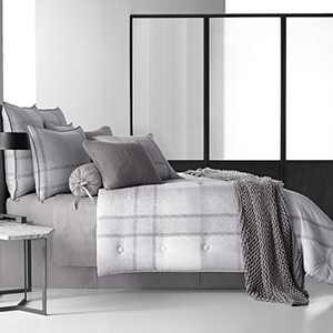 Five Queens Court Langdon 100% Brushed Cotton 4 Piece Comforter Set, King, Grey/White