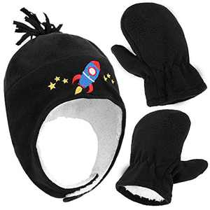 Little Boys and Baby Fair Isle Fleece Hat and Mittens Set, Boy Rocketship Black With Thumb, L 5-7 Years