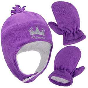 SimpliKids Girls Sherpa Lined Crown Embroidered Hat Gloves Set, Girl Crown Purple With Thumb, L 5-7 Years