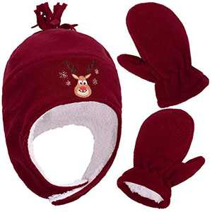 SimpliKids Girls Sherpa Lined Fleece Winter Hat and Mitten Set, Girl Reindeer Red With Thumb, L 5-7 Year