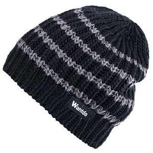 Wantdo Unisex Men's Women's Winter KnittWarm Thick Outdoor Beanie Hat Black 05