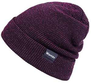 Wantdo Warm Slouchy Cable Knit Beanie Fuchsia Lurex