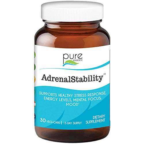 Pure Essence Labs Adrenal Stability - Natural Adrenal Support Supplement for Fatigue, Anxiety & Stress, Improved Mood and Focus, Cortisol Management (30 Capsules)