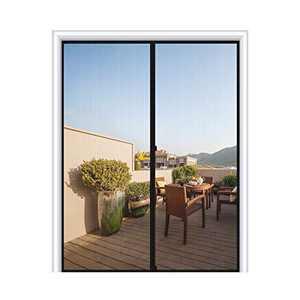 """MAGZO Magnetic Screen Door 72 x 80, Fiberglass French Door Mesh Curtain with Heavy Duty Fits Door Size up to 72""""x80"""" Max-Grey"""