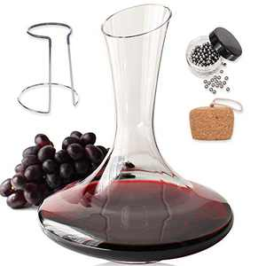 Red Wine Decanter Set With Stopper - Glass Wine Carafe Decanter Aerator Large Premium Decanters and Carafes Aerators Gift Set Wine Breather Vase