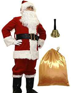 WHOBUY Men's Deluxe Santa Suit 11pc. Christmas Adult Santa Claus XL Red