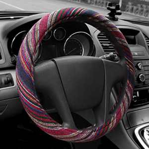 15 inch New Baja Blanket Car Steering Wheel Cover Universal Fit Most Cars Bell Automotive Red Ethnic Style Coarse Flax Cloth