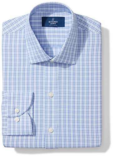 "Amazon Brand - Buttoned Down Men's Slim Fit Spread Collar Pattern Non-Iron Dress Shirt, Mini Blue Glen Plaid, 15"" Neck 33"" Sleeve"