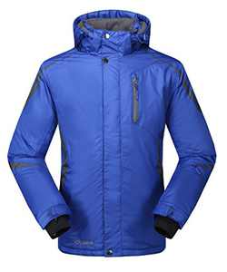 Krumba Men's Sportswear Outdoor Waterproof Windproof Hooded Ski Jacket Blue XL