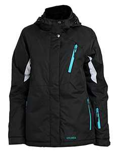 Krumba Women's Sportswear Outdoor Waterproof Windproof Hooded Ski Jacket (Black, Large)