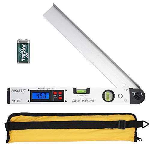 Proster 0-225° Digital Angle Finder LCD Protractor Angle Gauges Spirit Level 400mm/16 inch Vertical Horizontal Dual Spirit Level for Carpenter Woodworking Home Decoration