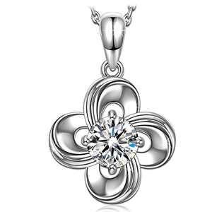 NINASUN Mother's Day flower Sterling Silver Crystal Pendant Necklaces for women Simple Dainty Chain Necklace Great fashion Jewelry present Gifts for girlfriend females friends