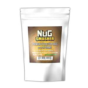 NugSmasher Rosin Press Bags -3.5 Gram (90 Micron) sized for nug smasher rosin press heat press and other machines each package contains 12 double back stitched press bags that measure 1.8″ x 3″