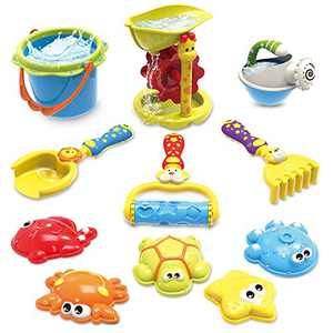 GrowthPic Sandcastle Building Kit, Outdoor Toy Sand Snow Beach Playset, 11 pcs Animal Molds for Kids with Water Wheel, Bucket, Shovel, Rake, Rolling Rake, Winter Outdoor Play Set for Toddlers
