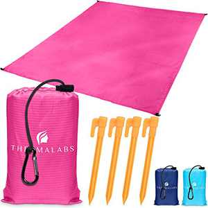 Ground Picnic Blanket for Beach & Park, Waterproof Sandless Pocket Mat, Compact Water Resistant Sheet for Travel, Hiking, Outdoor Camping, Seat Cover w/ Stakes, Ziplock Bag & More! Pink