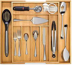 Dynamic Gear Bamboo Expandable Drawer Organizer, Premium Cutlery and Utensil Tray, 100% Pure Bamboo, Adjustable Kitchen Drawer Divider (7-9 slots)
