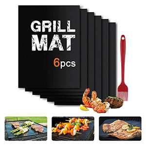 OitiO Grill Mats Set of (6+1), 15.8x13 Inch Easy to Clean and Reusable BBQ Accessories, Heat Resistant Barbecue Grilling Mat, Work on Electric Grill, Gas, Charcoal for Ourdoor Grill (Black)