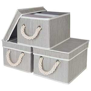 StorageWorks Decorative Storage Bins for Shelves, Storage Baskets with Lids and Cotton Rope Handles, Mixing of Gray, Brown & Beige, Medium, 3-Pack