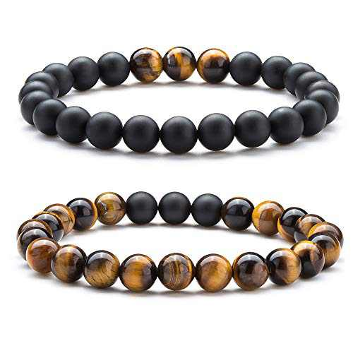 Hamoery Natural Tiger Eye Stone Bead Bracelets For Men (Set1)