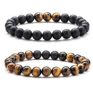 Hamoery Natural Tiger Eye Stone Bead Bracelets For Men (Set1)