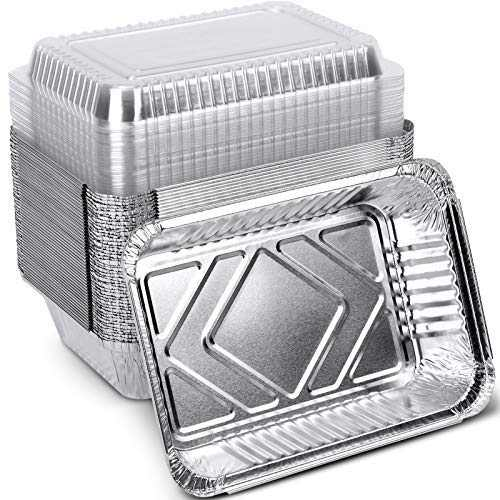 "XIAFEI Disposable Aluminum Rectangular Foil Pans, Take-Out Containers, Pack of 50 with PET Plastic Lids, (8.26"" x 5.7"" x 1.77"")"