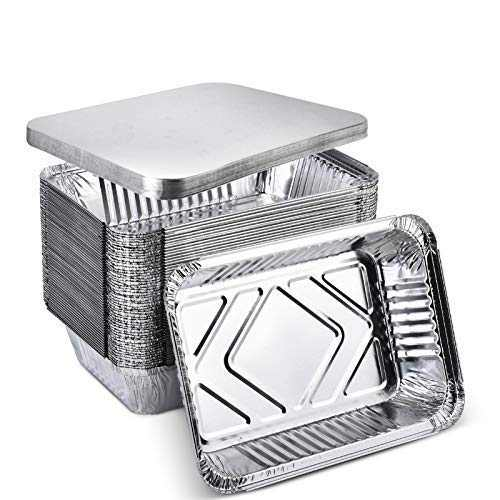 """XIAFEI 2LB Takeout Foil Pans with Lids(50 Pack), Recyclable Food Storage,Disposable Aluminum Foil for Catering Party Meal Prep Freezer Drip Pans BBQ Potluck Holidays- 8.26"""" x 5.7"""" x 1.77"""""""