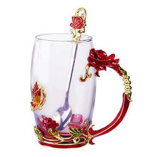 Tea Cup Glass Coffee Mugs Birthday Gifts For Women with Spoon Beautiful Rose Flower Butterfly (Rose Box)
