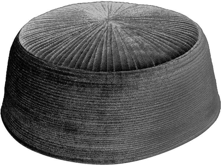 TheKufi Dark Gray Rigid Velvet Kufi Hat Turkish Chechen Style Takke Prayer Cap