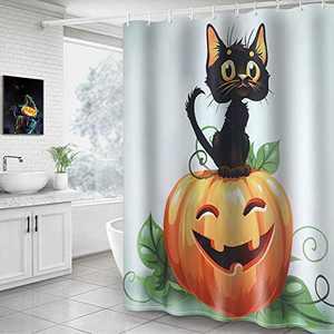 Hoomall Shower Curtain, Halloween Pumpkin Black Cat 71x71 Inch Shower Curtain Decorative Bath Curtain Durable with Hooks Fabric Waterproof Multi Function