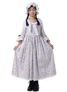 GRACEART Colonial Girls Dress Prairie Pioneer Costume 100% Cotton (Grey,Size-6)