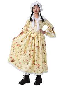 GRACEART Colonial Girls Dress Prairie Pioneer Costume 100% Cotton (Yellow,Size-6)