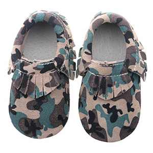 "Pidoli Girls Leather Baby Moccasins Infant Toddler Soft Sole (5 8.5M 24-30Month 5.90"" Toddler, Camo Suede)"