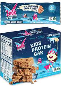 Zeek Kids Protein Bars | 30% Less Sugar, 9g of Protein, All Natural Kids Snack | Nutrition Snack Bars for Active Kids & Sports | Gluten Free Snack | Cosmic Cookie Dough, 10 Count