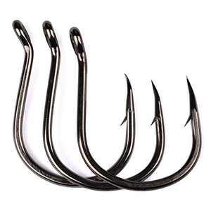PROBEROS Fishing Hooks - High Carbon Steel Bait Jig Saltwater Hooks - Single Fishing Hook - 100pcs Set Size 6/0