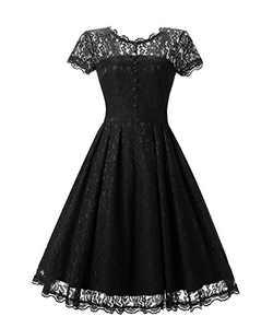 Women's Retro Floral Lace Cap Sleeve Vintage Swing Bridesmaid Dress (S, Black)