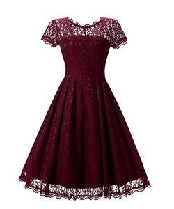 Women's Retro Floral Lace Cap Sleeve Vintage Swing Bridesmaid Dress (L, Claret)