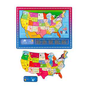 Wondertoys 46 Pieces Wooden USA Map Puzzle for Kids US Map Puzzle Educational Geography Puzzles United States Map Puzzle for Boy Girl