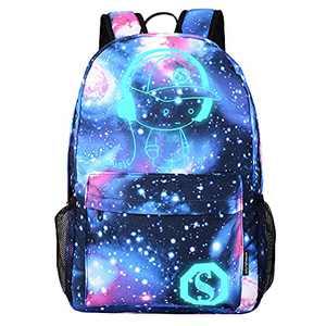 Lmeison Anime Cartoon Luminous Backpack for Teen Boy Girl, Waterproof Student Bookbag with USB Charging Port&Lock &Pencil Case, 15.6'' Laptop Bag Anti-theft Lightweight Travel Daypack