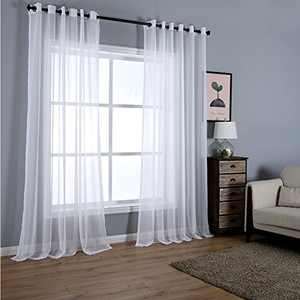 "Dreaming Casa Solid Sheer Curtains Draperies White Grommet Top Two Panels 100"" W x 102"" L"