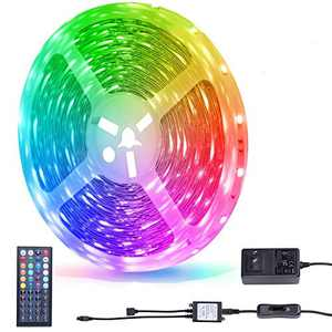 Miheal Waterproof 5050 SMD 32.8ft (10m) RGB LED Strip Light Kit, Color Changing Black PCB Rope Lights+44-Key IR Controller+ Power Supply for Home,Kitchen,Trucks,Sitting Room and Bedroom Decoration