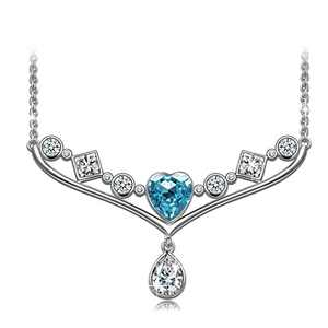 NINASUN Aquamarine Heart Necklace S925 Sterling Silver Mother's Day Gift Pendant Fancy Love Blue Crystal Fine Jewelry Women Gift Idea for Wife Birthday Gifts Wedding Jewelry