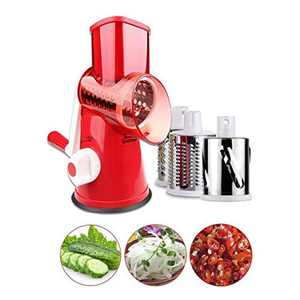 Vegetable Slicer, GEEKHOM Rotary Cheese Grater Chopper Mandoline Slicers Cutter with 3 Cylinders Stainless Steel Blades for Food Grinding Cutting Slicing