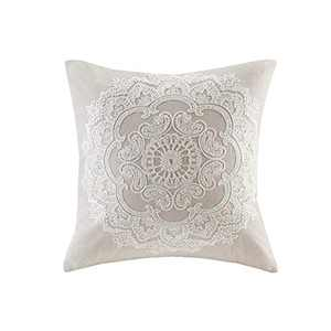 "Harbor House Modern Design Decorative Pillow Hypoallergenic Sofa Cushion Lumbar, Back Support, 18""x18"", Suzanna, Cotton Medallion Taupe Square"