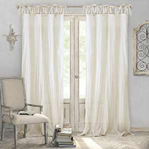 "Elrene Home Fashions Crushed Semi-Sheer Adjustable Tie Top Single Panel Window Curtain Drape, 52"" x 84"" (1, Ivory"