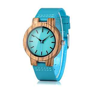 BOBO BIRD Women's Bamboo Wooden Watch with Blue Cowhide Leather Strap Casual Watches for Love with Box